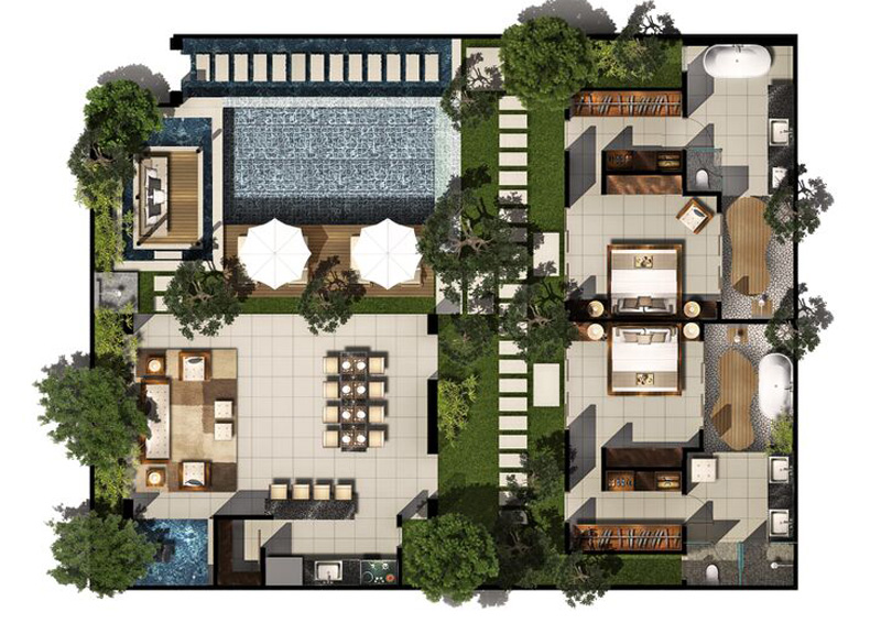 2 bed pool villa floor plan chandra bali villas. Black Bedroom Furniture Sets. Home Design Ideas