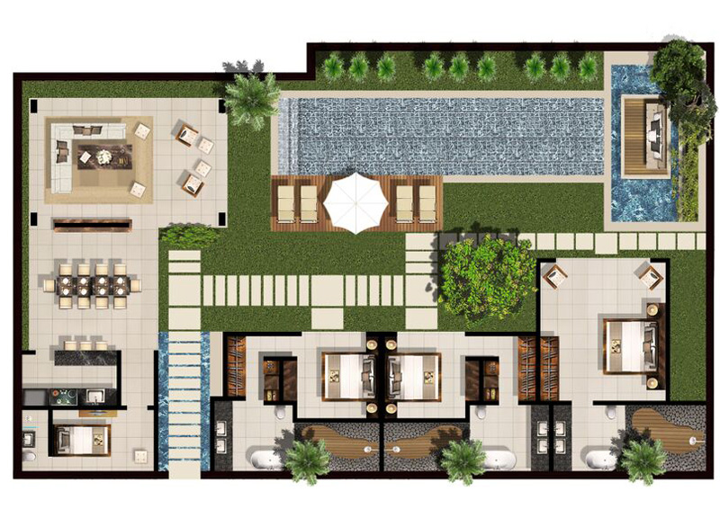 3 5 bedroom family villa floor plan chandra bali villas for Villa architecture design plans