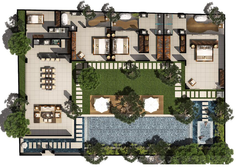 3 bed pool villa floor plan chandra bali villas for Villa floor plans
