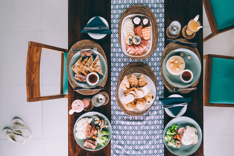 aerial shot dining table
